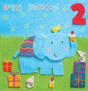 Age 2 Elephant Birthday Card TW257